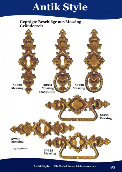 Geprägte Beschläge aus Messing, für Möbel, Gründerzeit. Seite 95