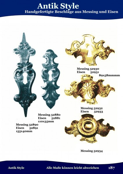 Handgefertigte Beschläge aus Messing und Eisen Seite 228