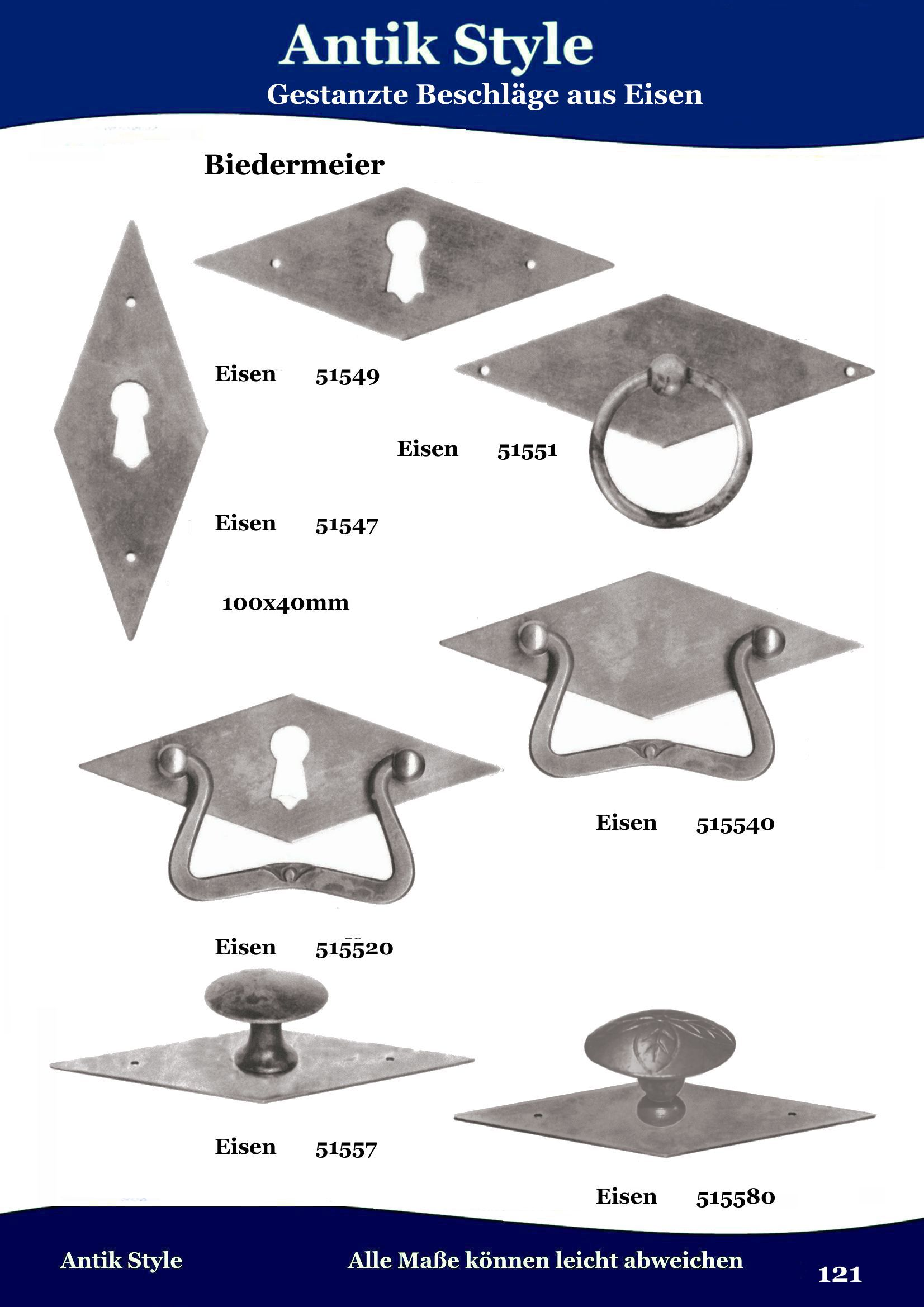147 gestanzte beschl ge f r m bel biedermeier aus eisen gesamtkatalog antik style gmbh. Black Bedroom Furniture Sets. Home Design Ideas
