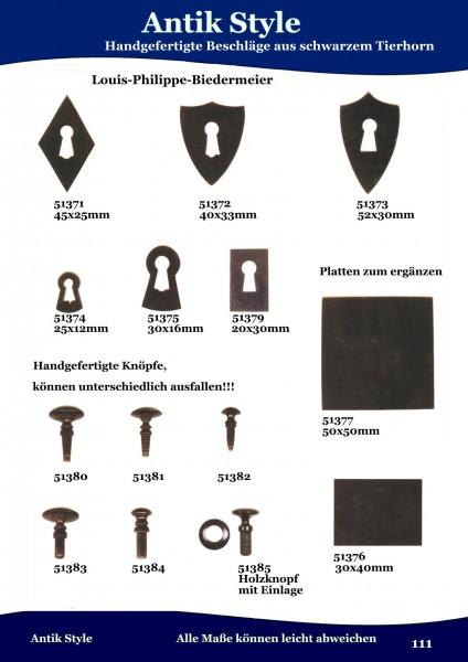 132 Beschläge aus schwarzem Tierhorn