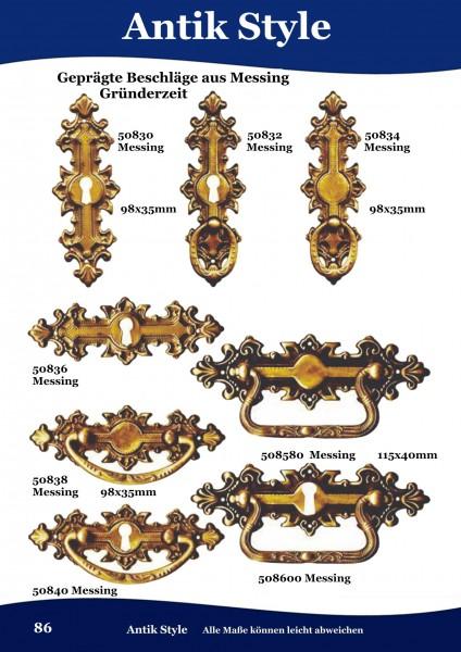Geprägte Beschläge für Möbel ,Gründerzeit aus Messing. Seite 86