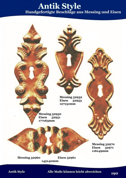 Handgefertigte Beschläge aus Messing und Eisen Seite 231