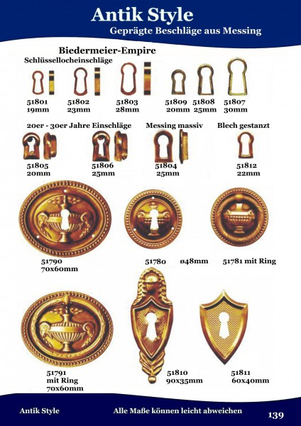 Geprägte Beschläge und Einschläge für Möbel , Biedermeier-Empire aus Messing Seite 175