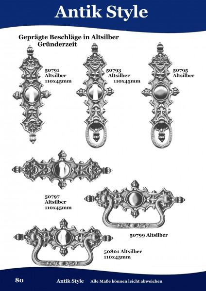 Geprägte Beschläge für Möbel ,vernickelt,Gründerzeit Seite 80