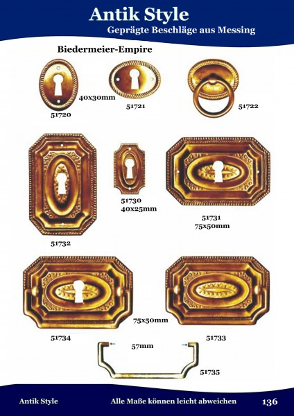 Geprägte Beschläge für Möbel , Biedermeier-Empire aus Messing Seite 172