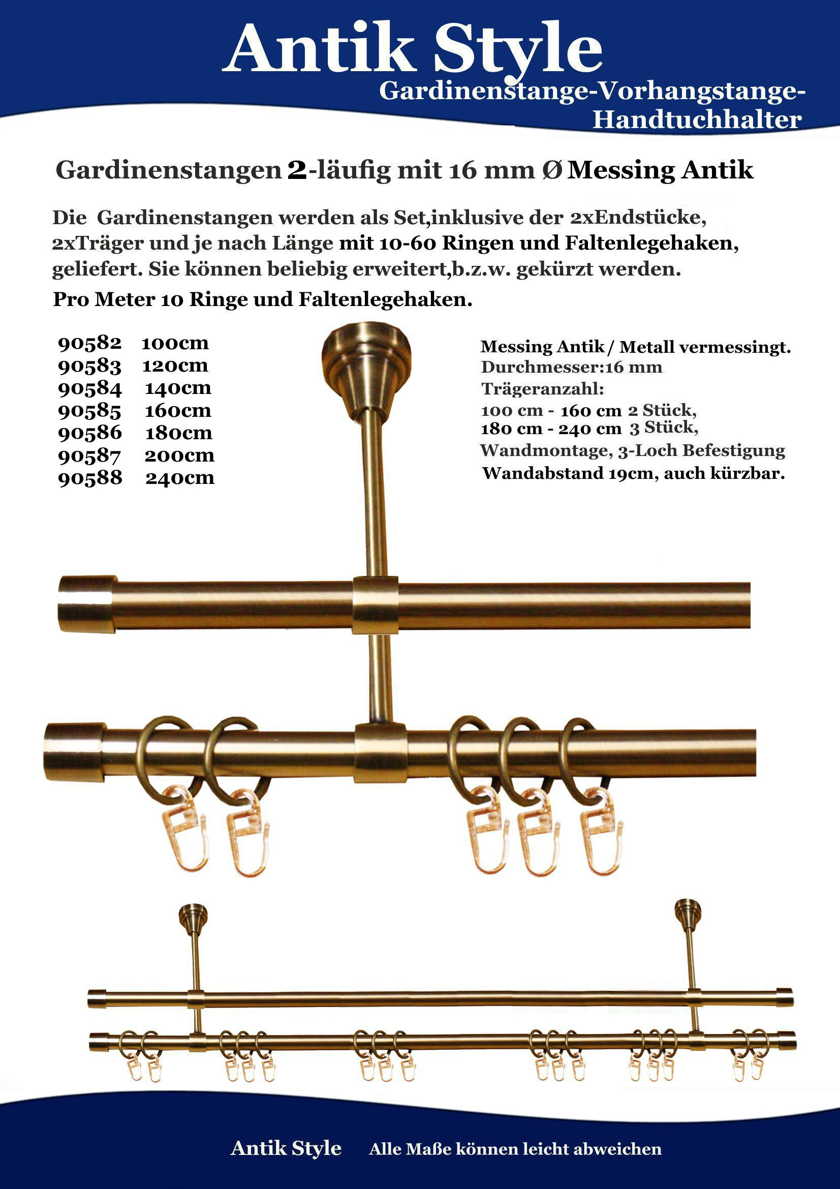 120 cm 2-lfg. Gardinenstange Messing Antik  Ø 16 mm