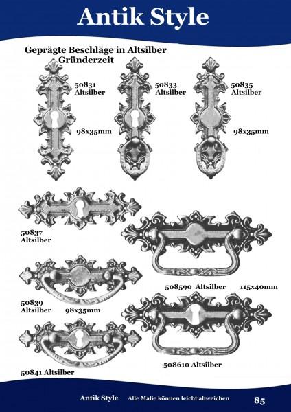 Geprägte Beschläge für Möbel ,Gründerzeit Altsilber. Seite 85