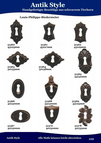 131 Beschläge aus schwarzem Tierhorn